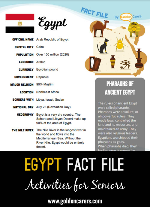 An attractive one-page fact file all about Egypt. Print, distribute and discuss!