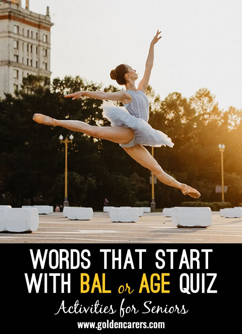 All the answers to this quiz start with BAL or CAR.