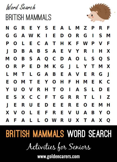 British Mammals Word Search