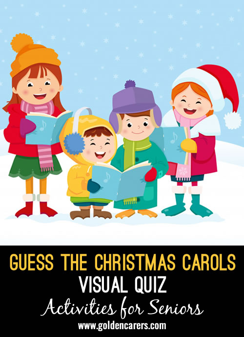 This pictorial quiz of guessing the names of popular Christmas Carols is a fun game and reminiscing activity!