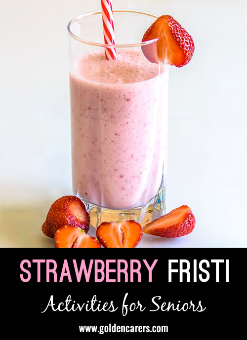 Fristi is a healthy and delicious yoghurt drink popular in the Netherlands. It can be made with any fruit in season.