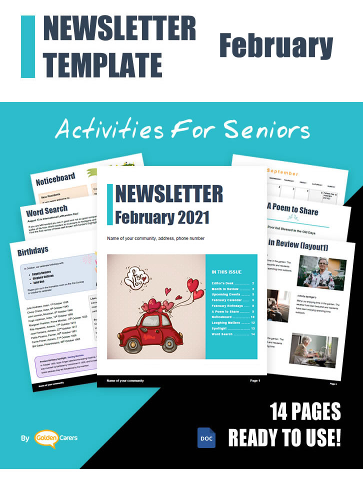 Here is a newsletter template for February 2021 in WORD format. So easy to edit and customize!
