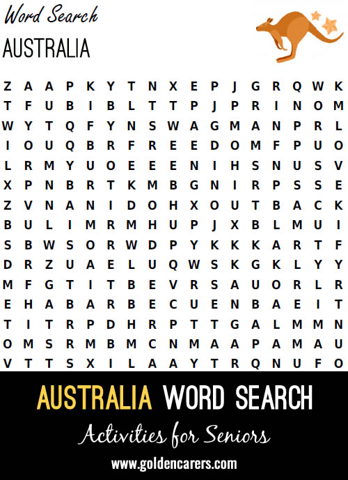 I created this find a word for my residents as part of word game activities for celebrating Australia Day.