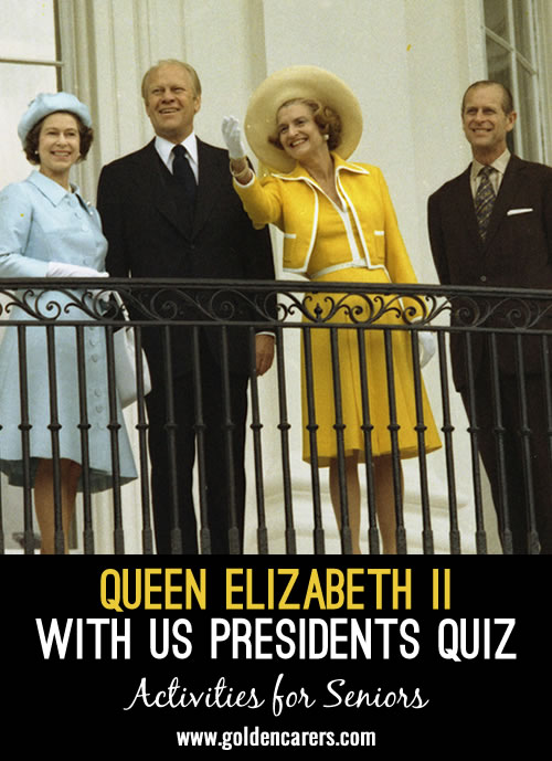 Queen Elizabeth II has met most of the US Presidents elected during her reign. There have been 15 US Presidents and Her Majesty has met 13 of them. Can you identify which President she is pictured with in the following slides?