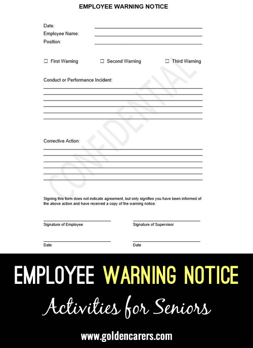 Here is a warning notice template that can be issued to employees following conduct or performance issues.
