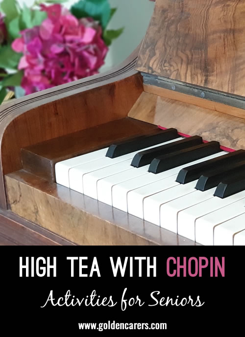 Gather a group of music lovers and have a session listening to Chopin's exceptional compositions. Some of the Nocturnes are well known to many people and consist of calm, beautiful piano music.