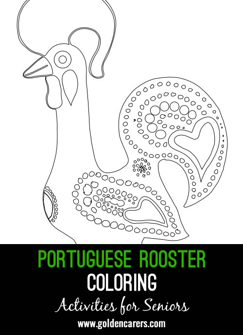 Here is a famous Barcelos Rooster for coloring!