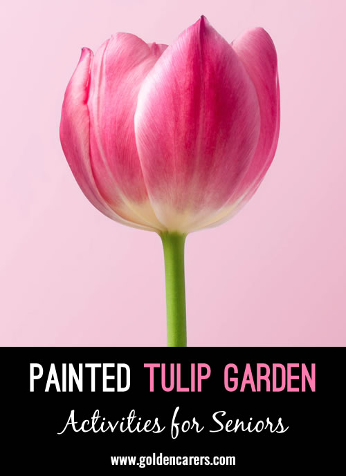 We cut green tagboard to resemble grass and made stems from the remainder and had the residents paint the tulip outlines to complete our garden.