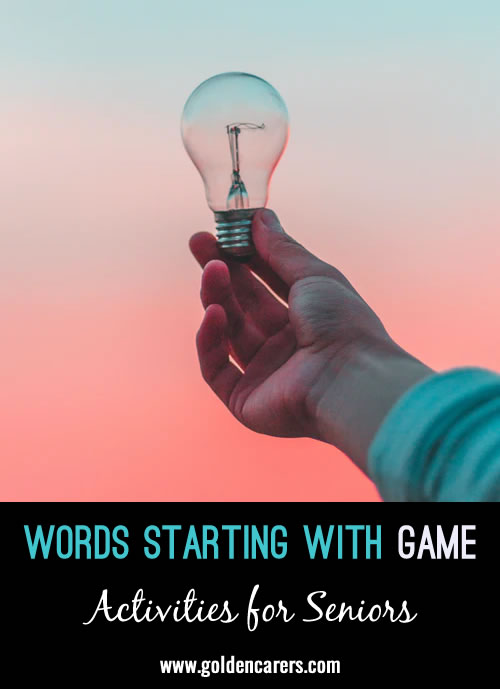 Words Starting With Game