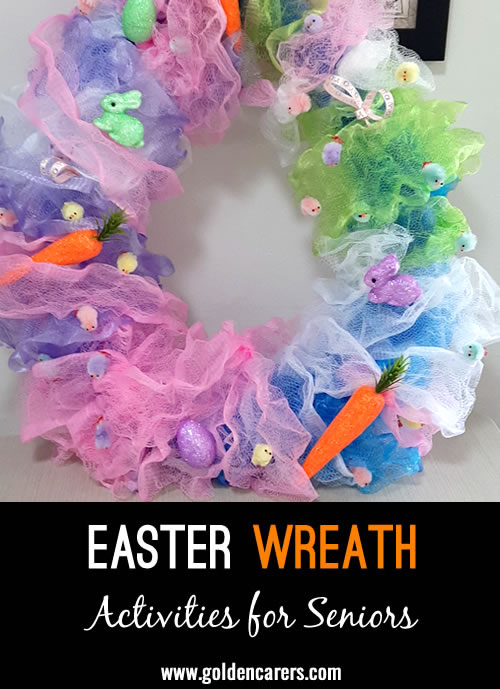 Here is an idea for an easy-to-assemble Easter wreath