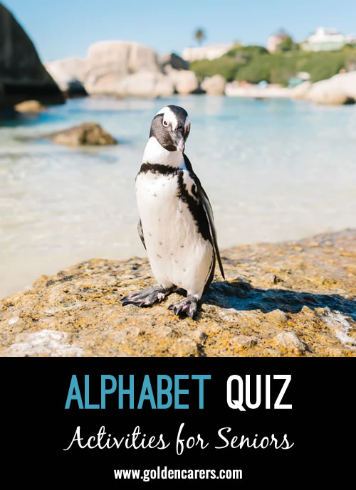 The answers to this quiz are in alphabetical order!