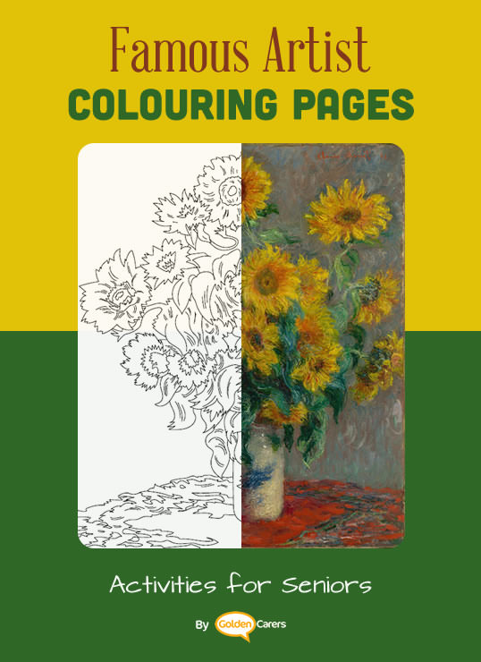 Claude Monet - Sunflowers coloring template and short bio