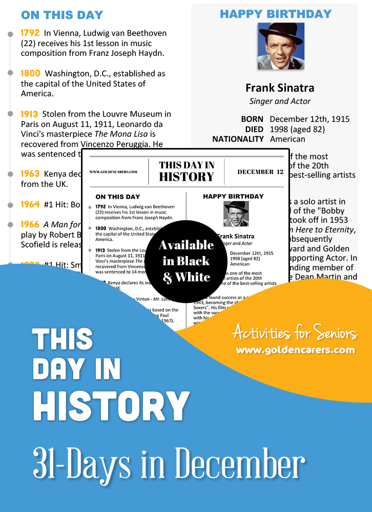 A reminiscing magazine for every day in December!  Enjoy a full page of information about every day of the year, including important historical events, short biographies, jokes, quotes, and fun brain teasers.