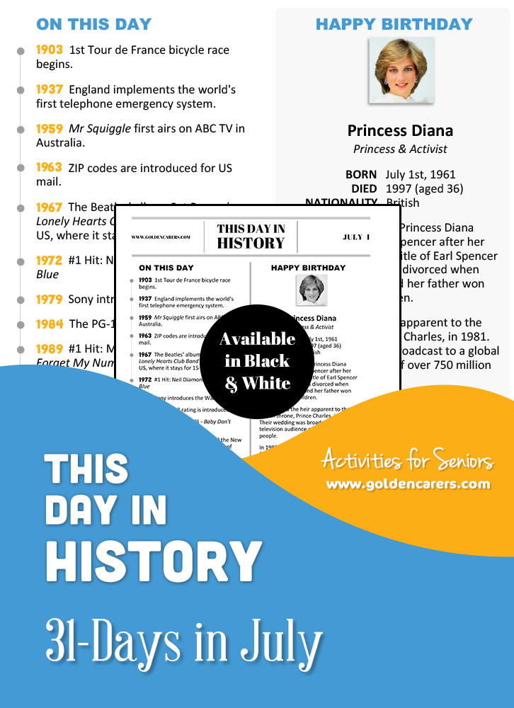 This Day in History for Seniors: July