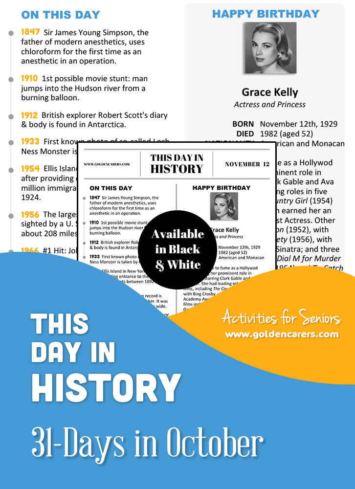 A reminiscing magazine for every day in November!  Enjoy a full page of information about every day of the year, including important historical events, short biographies, jokes, quotes, and fun brain teasers.