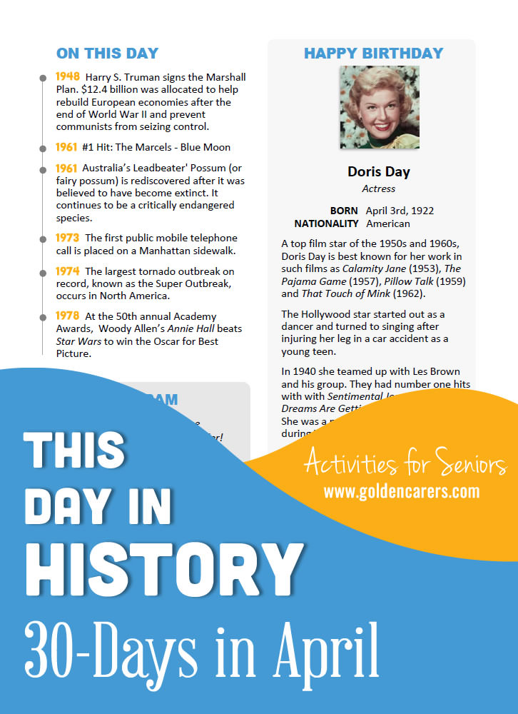A reminiscing magazine for every day in April! Enjoy the next edition of the popular 'This Day in History' series with historical trivia, jokes, quotes and biographies!