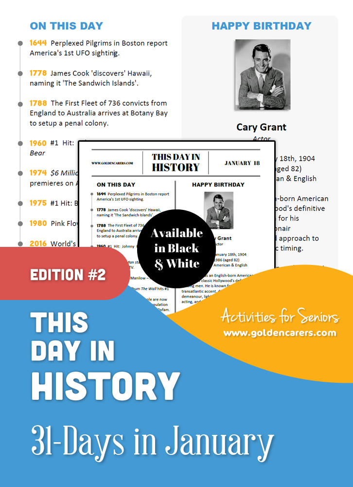 This Day in History for Seniors: January - 2nd Edition