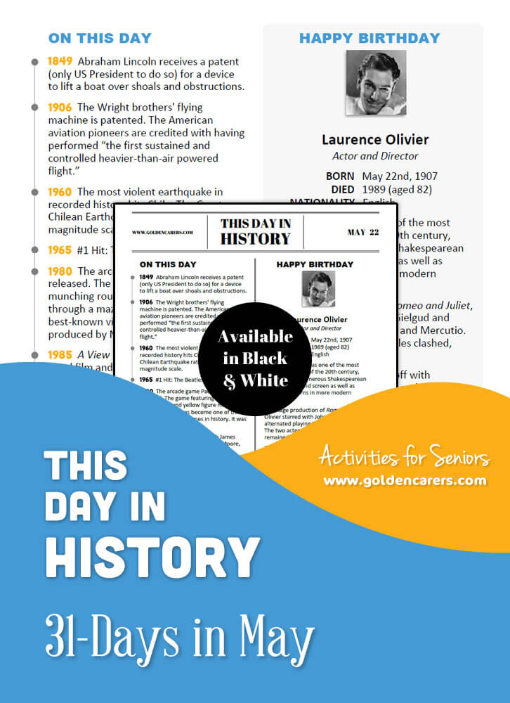 A reminiscing magazine for every day in May! Enjoy the next edition of the popular 'This Day in History' series with historical trivia, jokes, quotes and biographies!