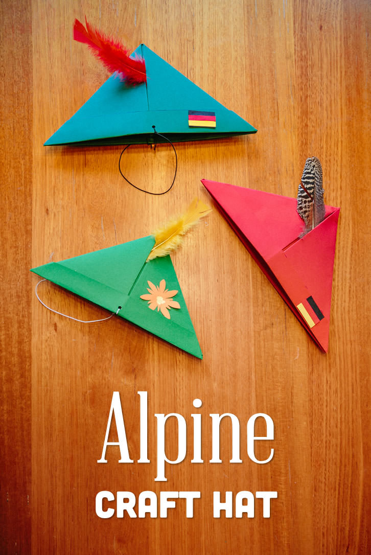 Also called a Tyrolean hat, the Alpine hat is the perfect accessory for an Oktoberfest Party!  These hats come in a variety of styles and are used by German, Austrian and Swiss people. This cute paper version is so simple to make!