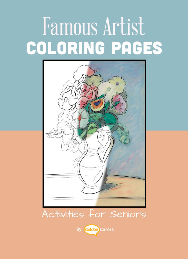 Famous Artist  Coloring Pages: Here is an impression of a work of art by Artist Impression - Arshile Gorky - Flowers In A Pitcher.