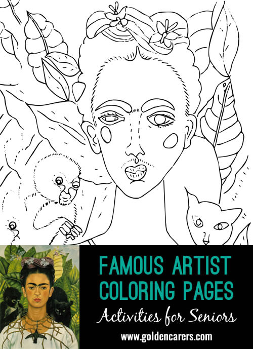Famous Artist  Coloring Pages: Here is an impression of a work of art by Frida Kahlo