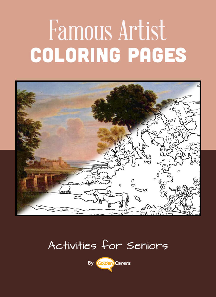 Famous Artist  Coloring Pages: Here is an impression of a work of art by Artist Impression - Claude Lorrain - Pastoral Landscape.