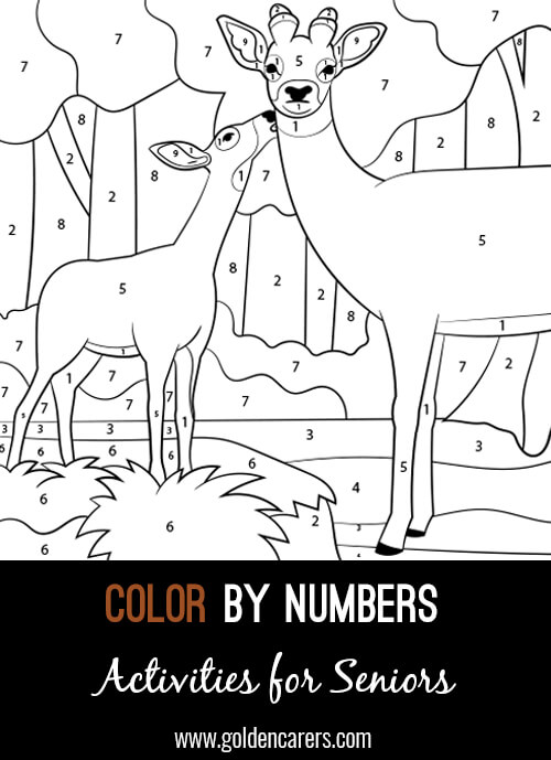 A color by number Deer and Fawn activity to enjoy! Use the key provided to color each number and discover the completed image.