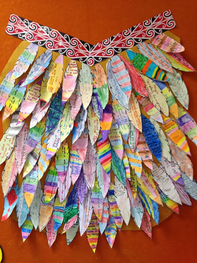 Make a Korowai (feather cloak) with paper feathers! Korowai are taonga (treasures) that are often worn on special occasions.