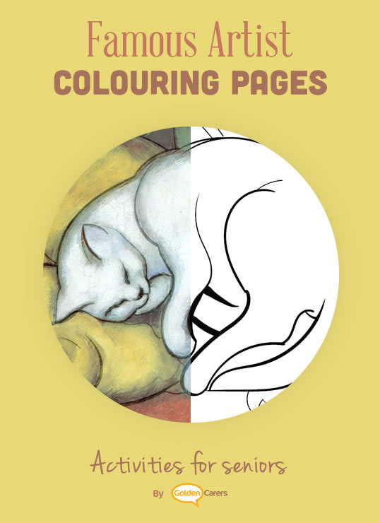 Famous Artist Coloring Pages: Here is an impression of Franz Marc's 'Sleeping Cat' work of art.