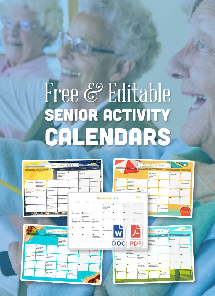 You can now add Daily Schedules, Icons, and Print at a variety of sizes! This easy to edit activity calendar can be pre-filled with upcoming events and celebration ideas for nursing homes and assisted living facilities. A perfect resource for activity coordinators working with the elderly.
