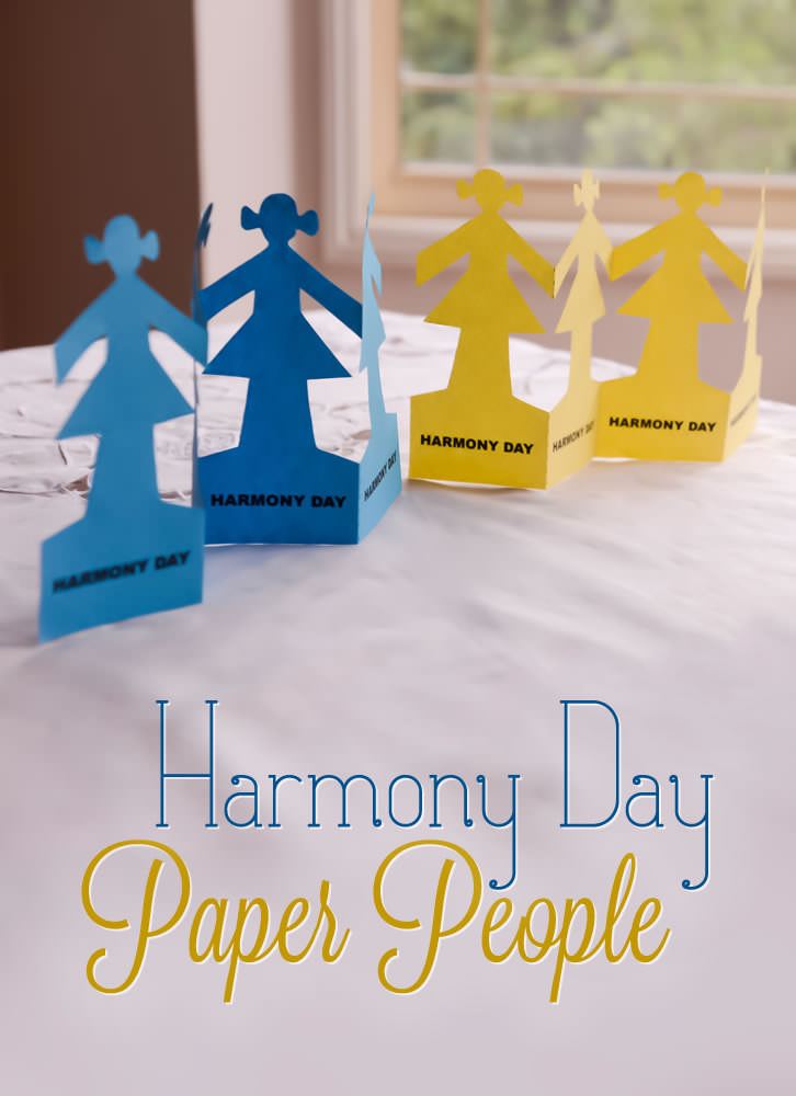Calendar Templates November : Harmony day paper people
