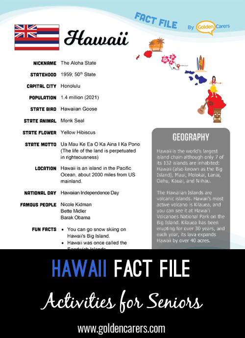 An attractive one-page fact file all about the Hawaii. Print, distribute and discuss!