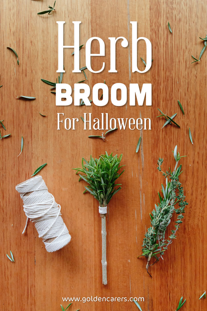 Gorgeous and simple Halloween broom decorations made with herbs! A lovely activity for seniors.