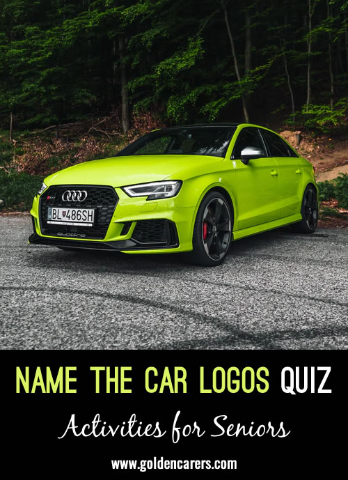 A visual quiz - see if you can name the car brands featured. A great activity for the men!