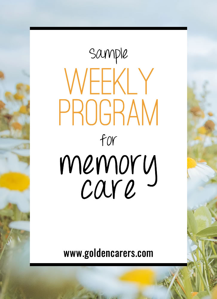 This sample program is for acute Dementia care. Some people like to do it weekly, others monthly. Download the form and adjust it to suit you.