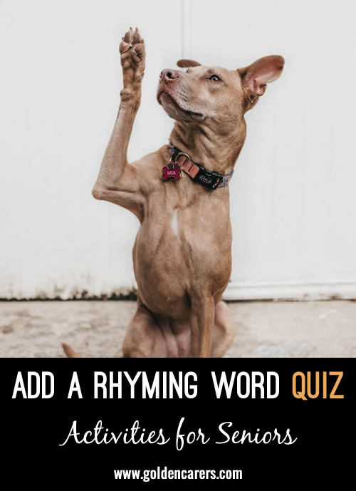 Add a rhyming word to the word provided!