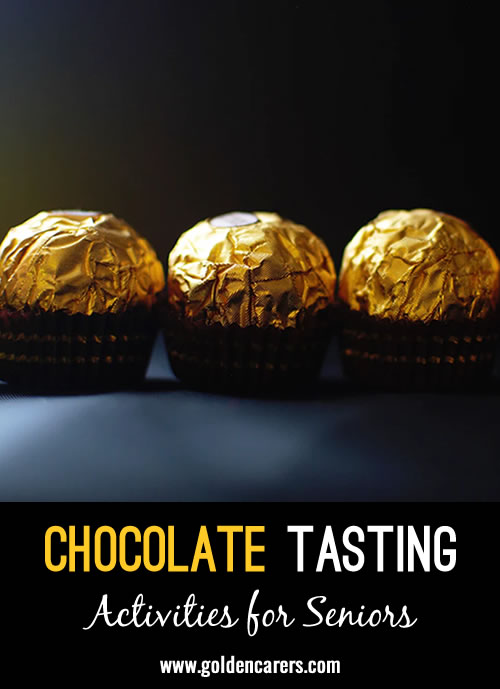 Use popular chocolates and eye masks to play this fun chocolate guessing game!
