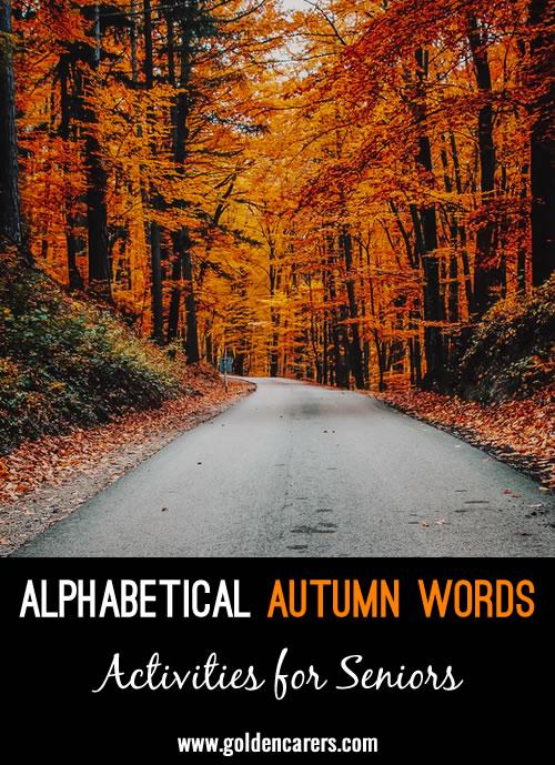 Alphabetical Autumn Words Game