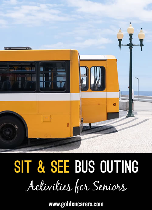 This is a simple but fun alternative to a sight seeing trip or as we call them a Sit & See. Residents stay on the bus so minimal staff are required.