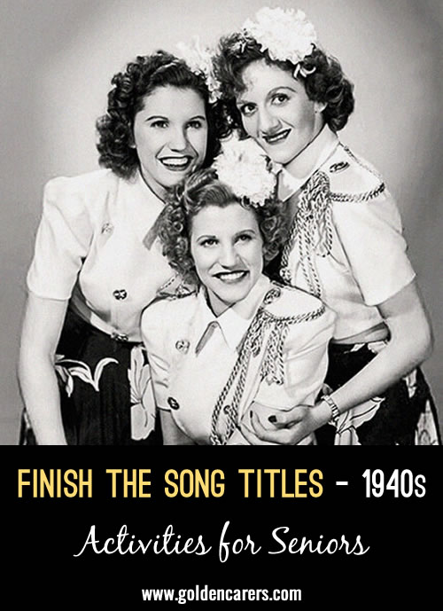 Down memory lane - finish the song titles