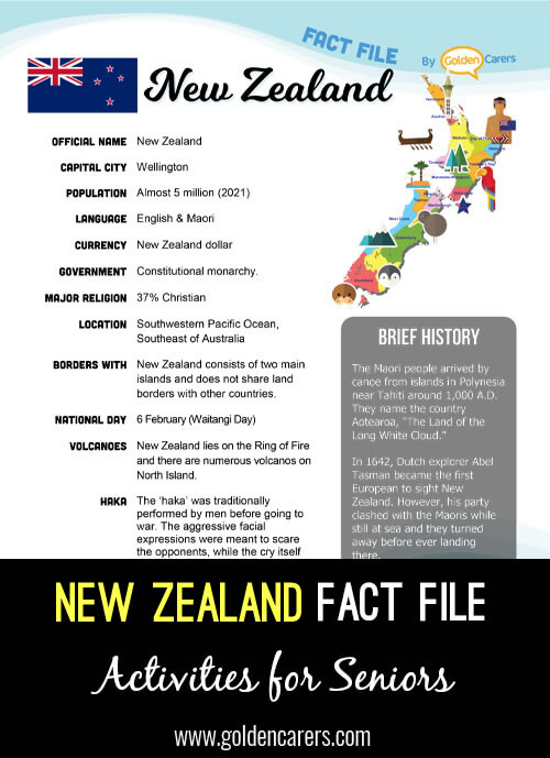 An attractive one-page fact file all about New Zealand. Print, distribute and discuss!