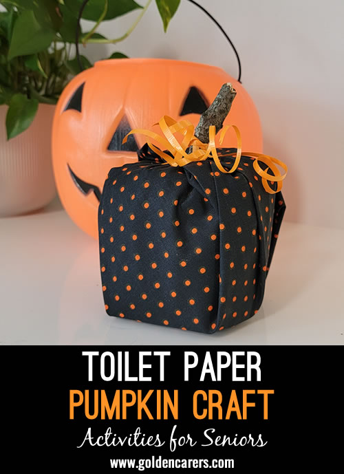 If you are looking for an easy and festive craft that is no-mess and nearly failure-free, try a toilet paper pumpkin. Residents will love how easy it is and you'll love that the supplies are few. Good luck!