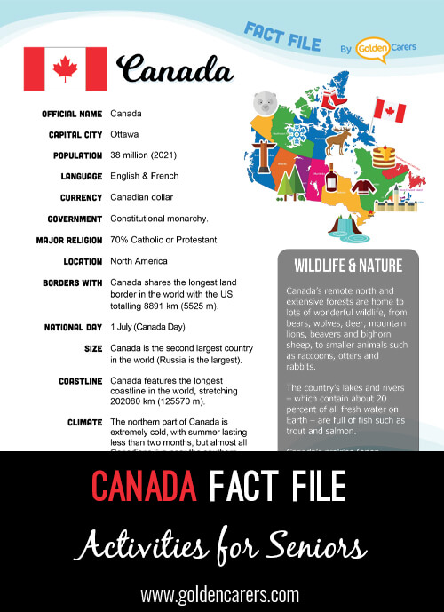 An attractive one-page fact file all about Canada. Print, distribute and discuss!