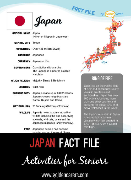 An attractive one-page fact file all about the Japan. Print, distribute and discuss!