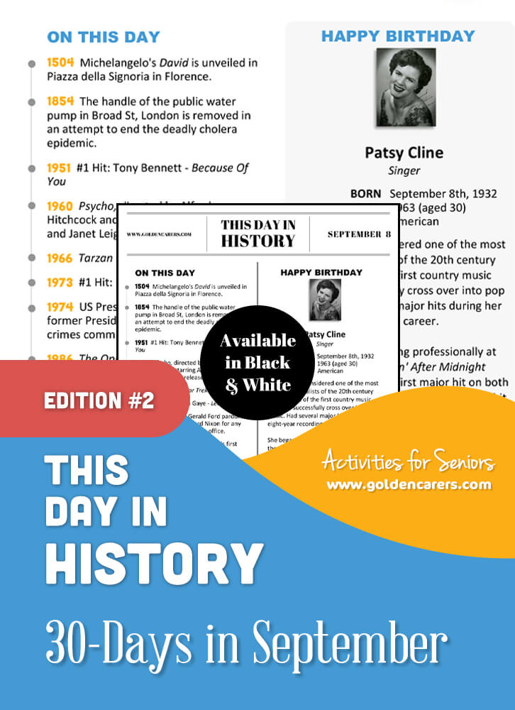 This Day in History for Seniors: September - 2nd Edition