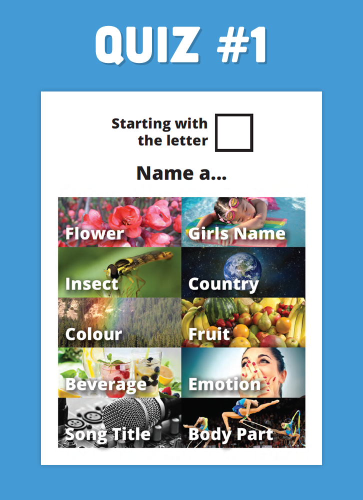Here's a fun word game for Seniors - Name a word starting with the same letter across 10 categories. Answers included!