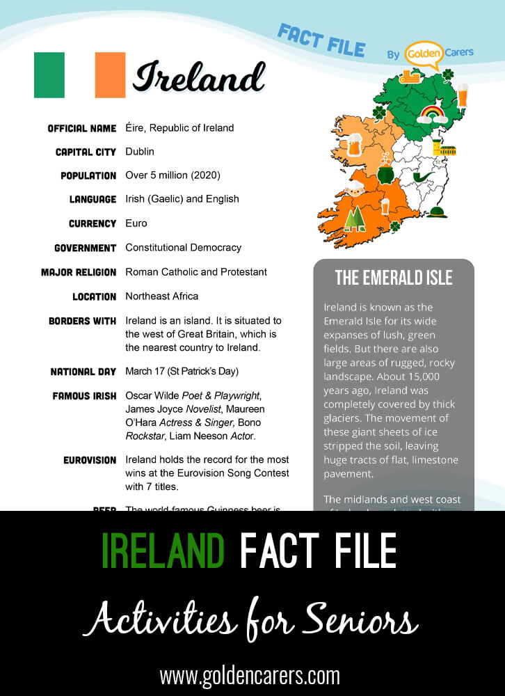 An attractive one-page fact file all about Ireland. Print, distribute and discuss!