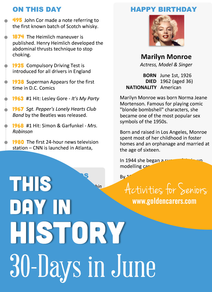 A reminiscing magazine for every day in June! Enjoy the next edition of the popular 'This Day in History' series with historical trivia, jokes, quotes and biographies!