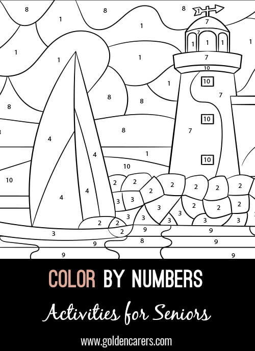 A color by number Lighthouse activity to enjoy! Use the key provided to color each number and discover the completed image.