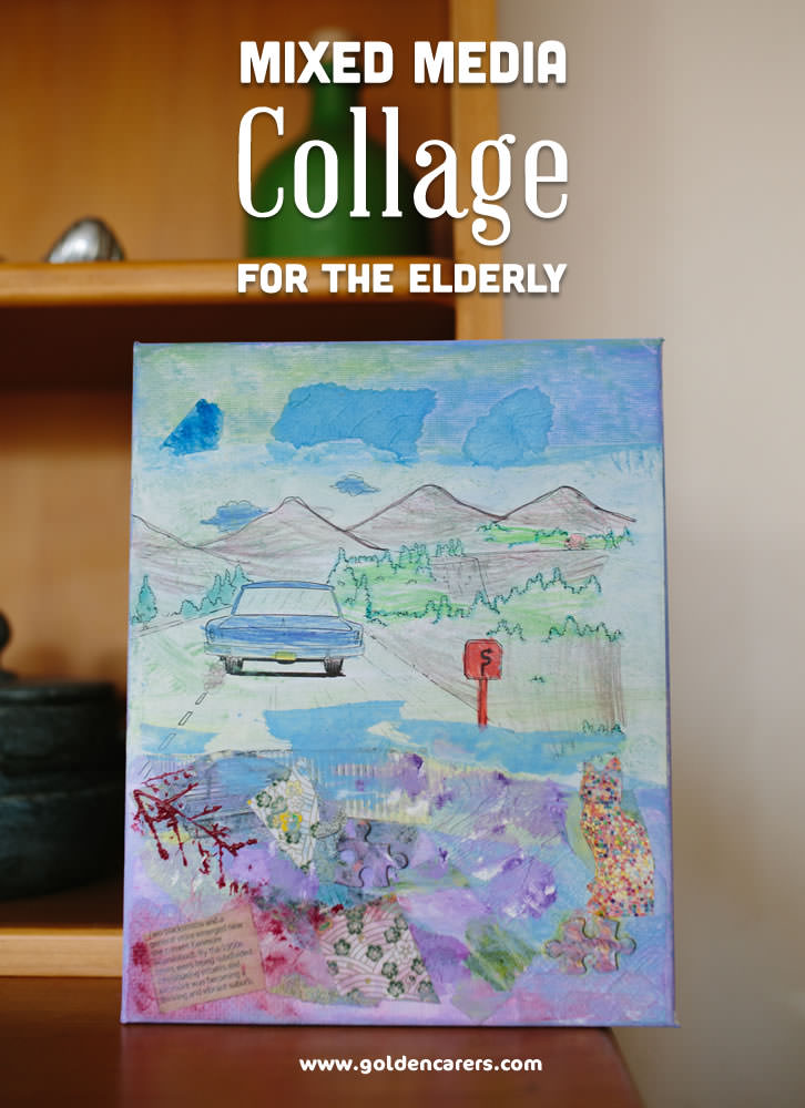 New Year Calendar Craft : Mixed media collages for the elderly